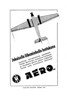 Advertisement of Aero O/Y from the 1930's