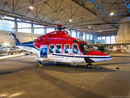 Bel Air's AgustaWestland 139 at its new home, the historic hangar at Helsinki-Malmi Airport. Photo: Samuli Sorvakko