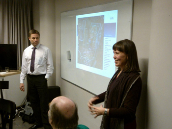 FoMA's new Chairman Timo Hyvönen and member of the Board Eija Korjula presented to the audience the vision of an open citizens' group about Malmi region and Malmi Airport in 2050.